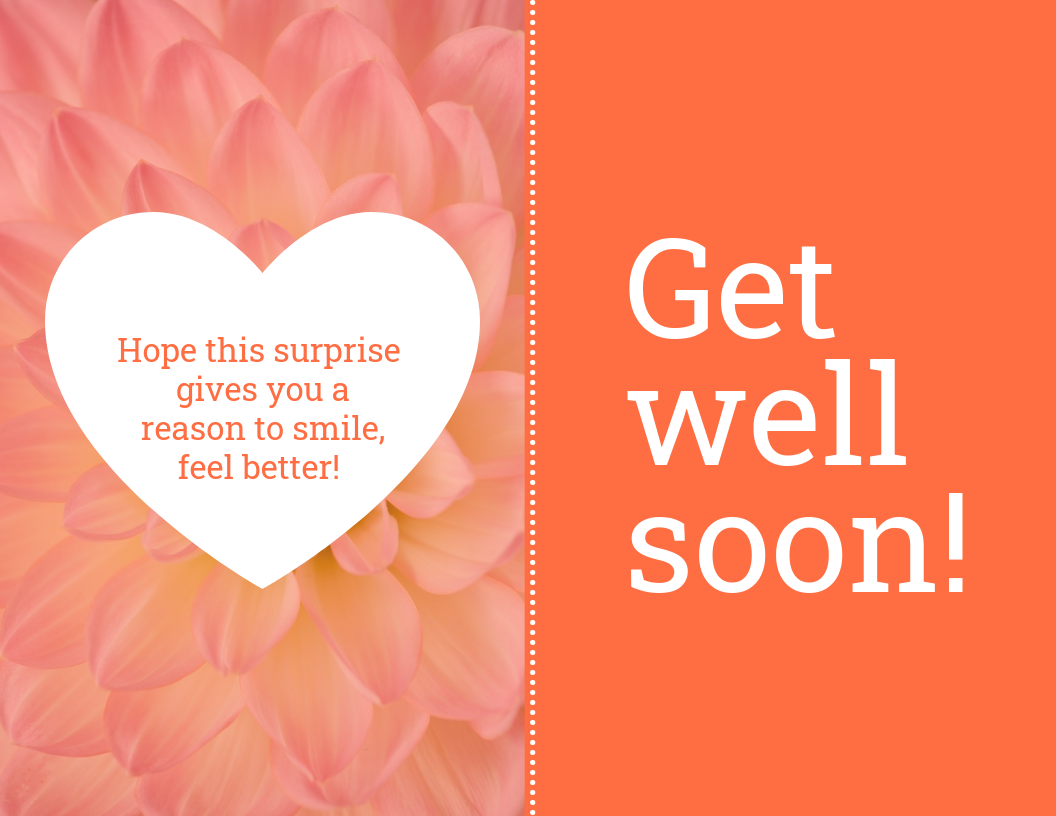 Orange Get Well Soon Card Template