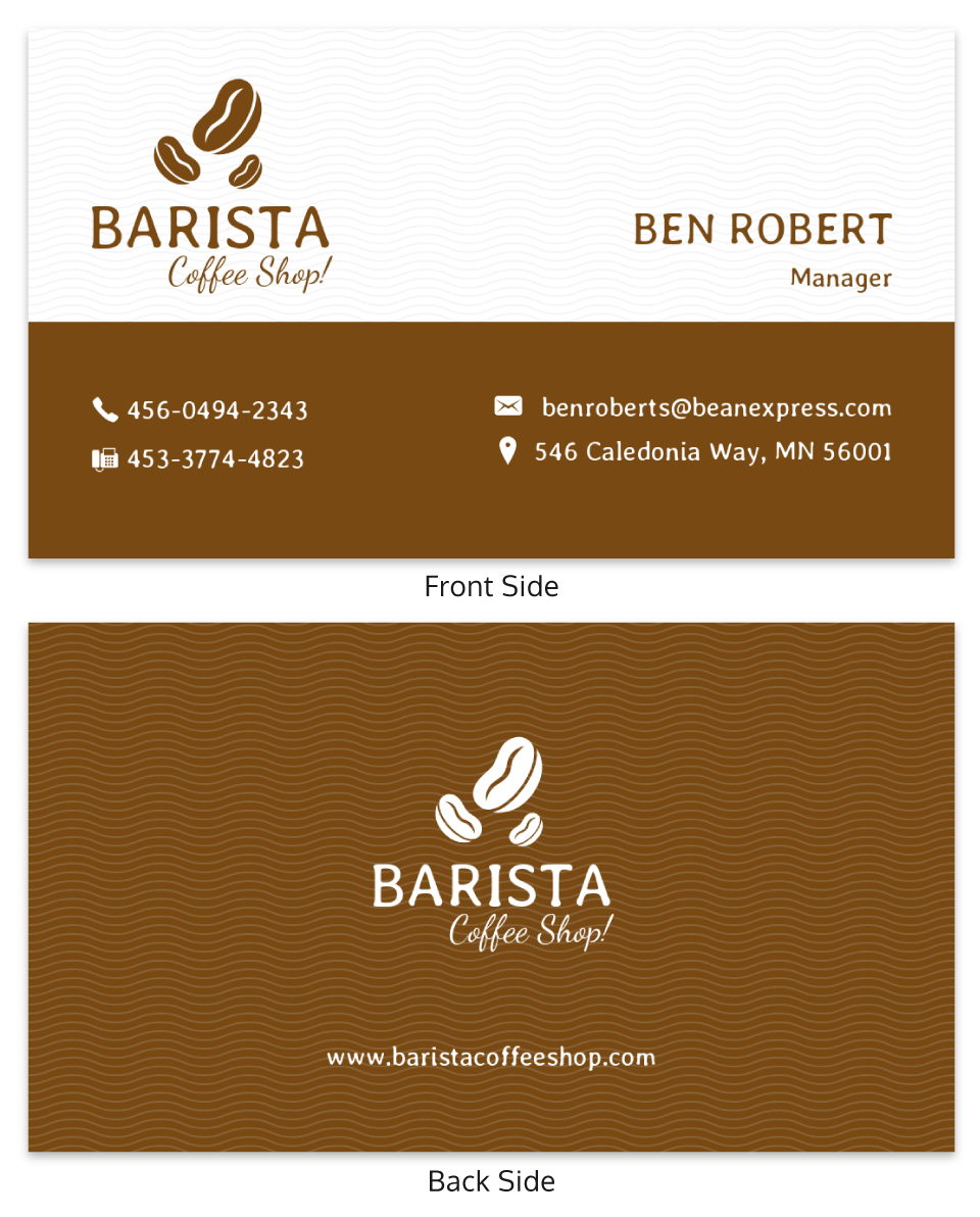 Simple Coffee Shop Professional Business Card Template