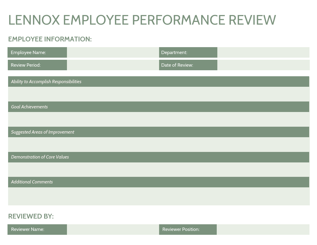 Simple Employee Annual Performance Review Template
