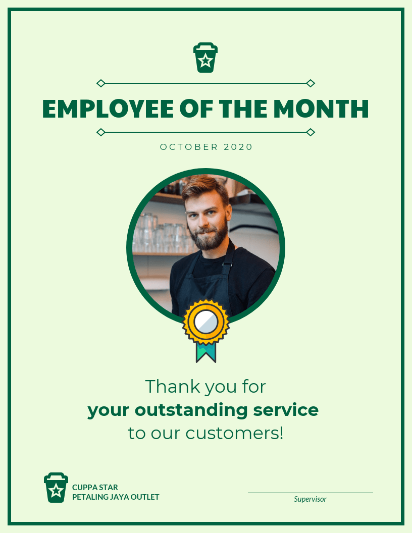 image relating to Employee of the Month Printable Certificate named Staff of the Thirty day period Certification Template Template - Venngage