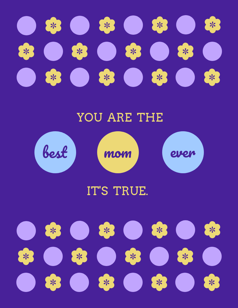 Purple Mother's Day Card Template