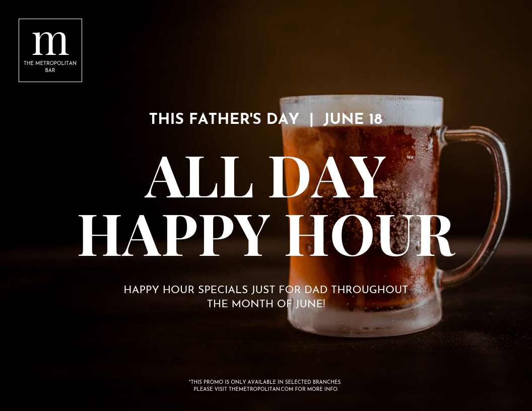 Photo Father's Day Happy Hour Flyer Template