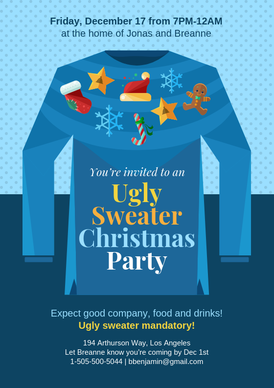 Ugly Sweater Christmas Party Invitation Template