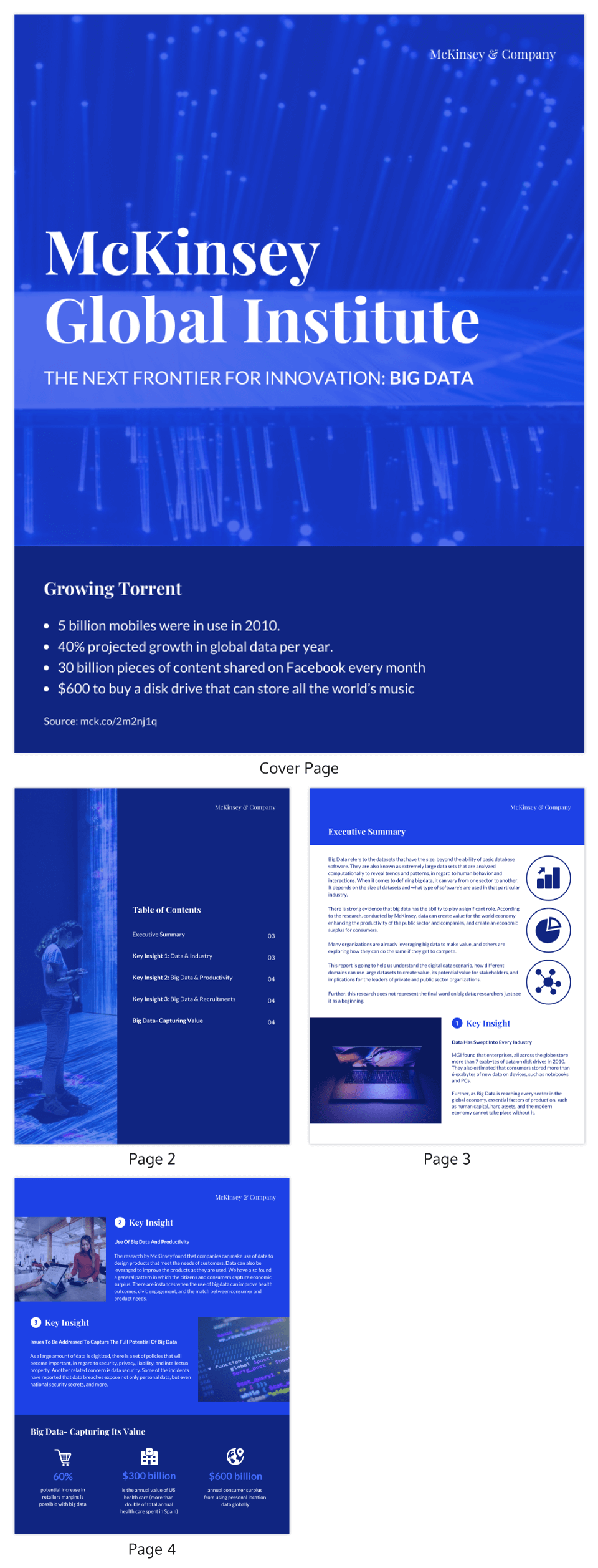 Blue Tech McKinsey Consulting Report Template