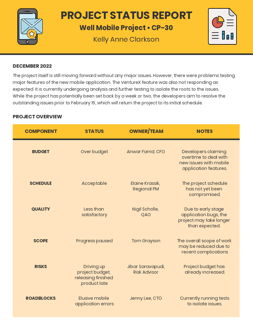 Yellow Mobile Project Status Report Template