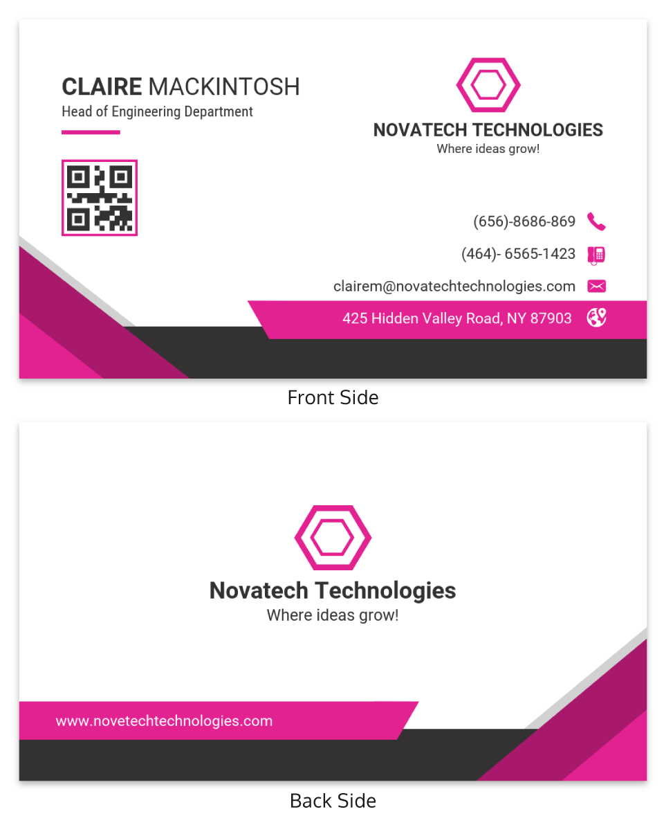 Pink Technology Professional Business Card Template