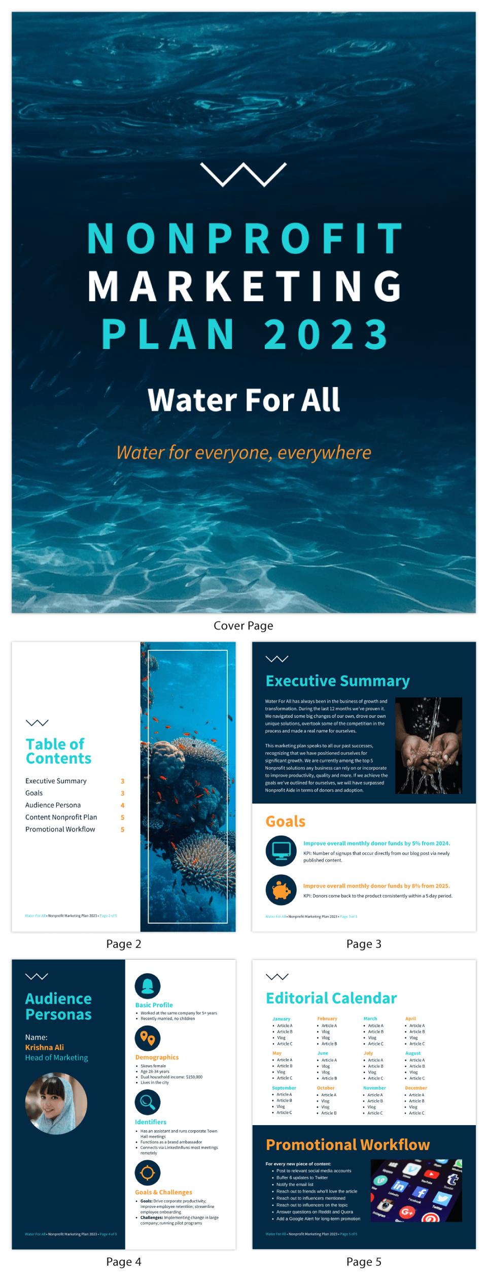 Blue Nonprofit Marketing Plan Template