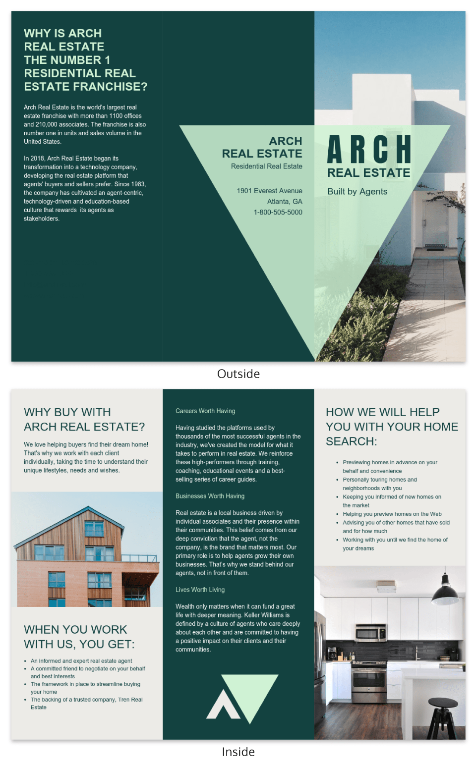 Arch Real Estate Tri Fold Brochure Template