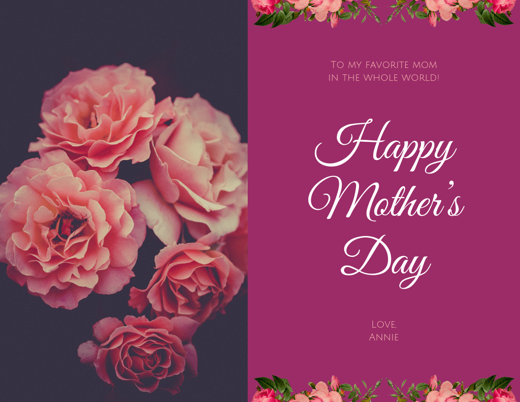 Roses Happy Mother's Day Card Template