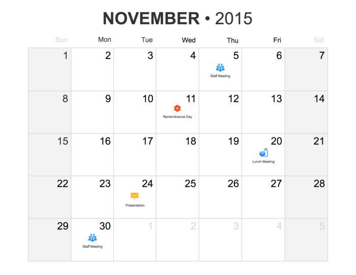 Monthly Calendar Timeline Template