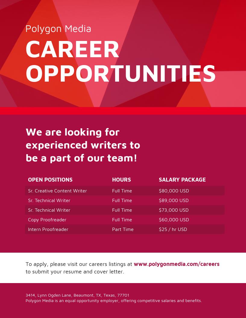 Red Job Hiring Business Flyer Template