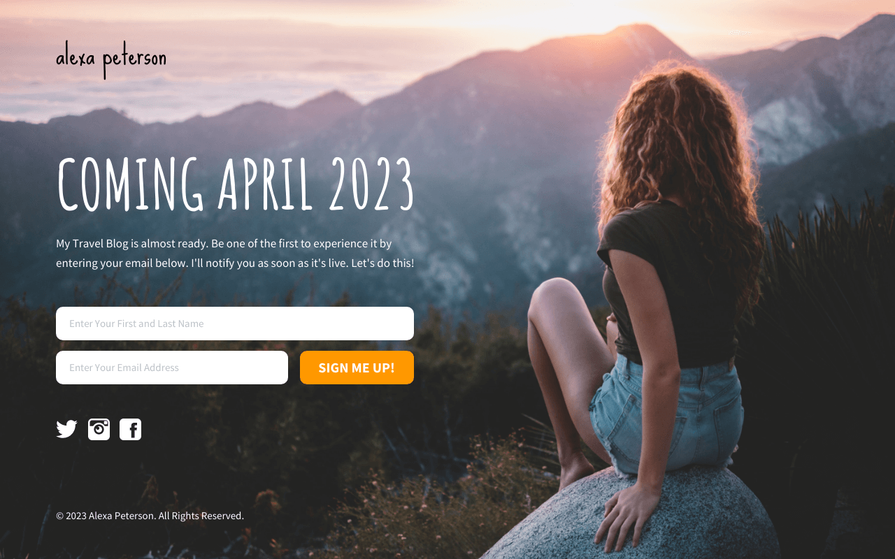 Travel Blog Coming Soon Landing Page Template