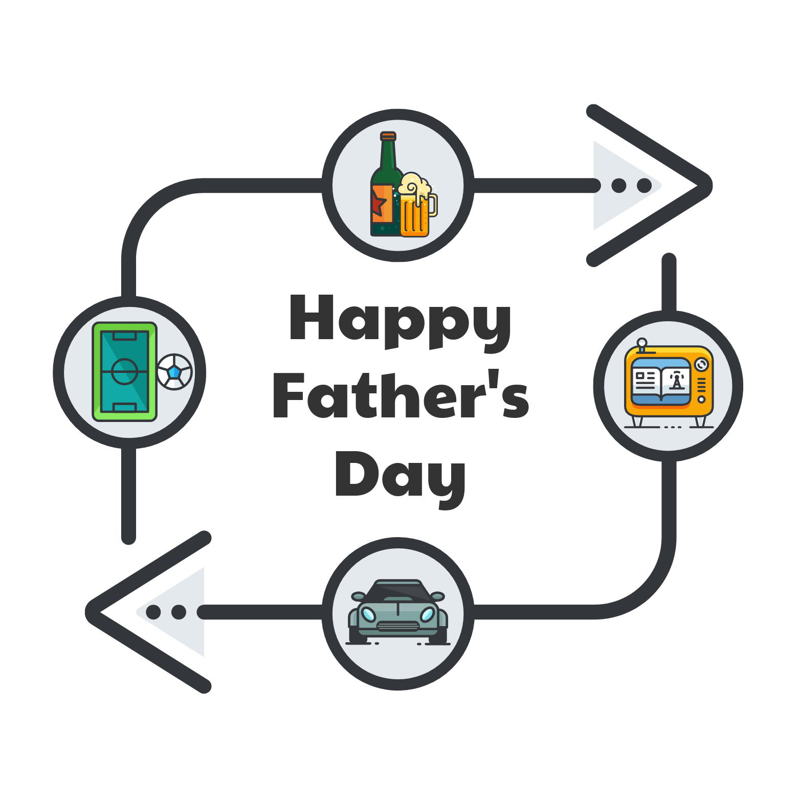 Icons Father's Day Social Media Post Template