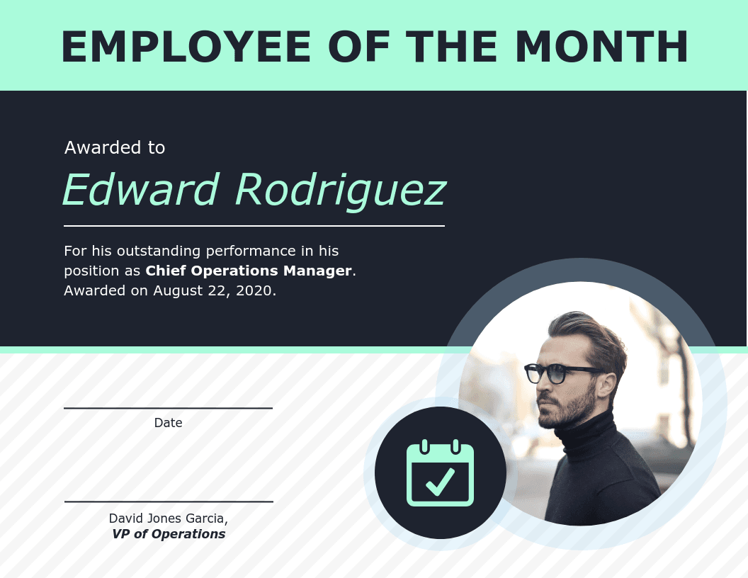 Employee Of The Month Certificate Of Recognition Template Template