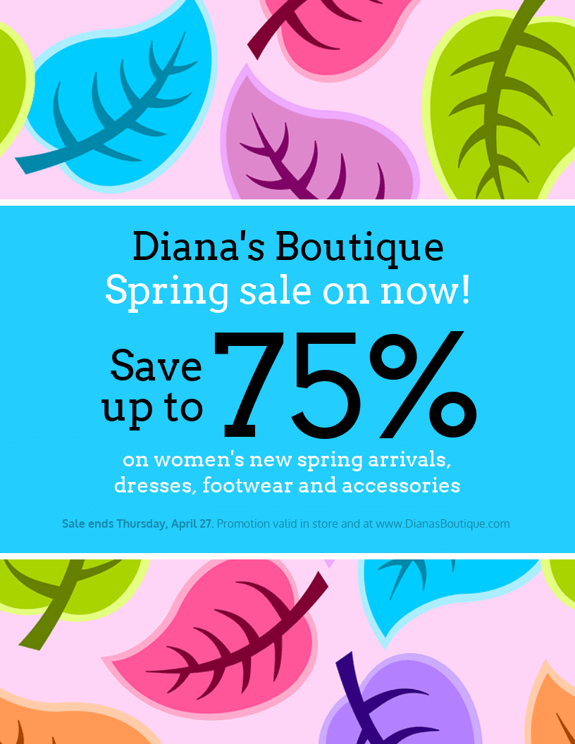 spring sale clothing flyer template venngage