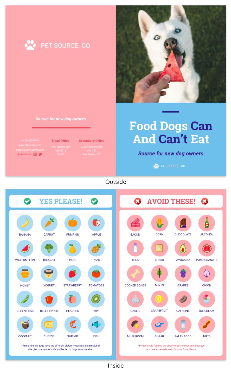 Dog Food Bi Fold Brochure Template