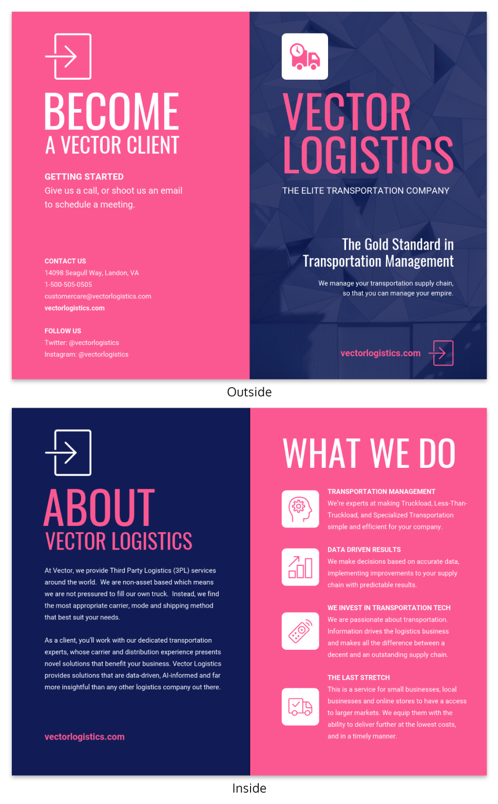 Magenta Business Bi Fold Brochure Template