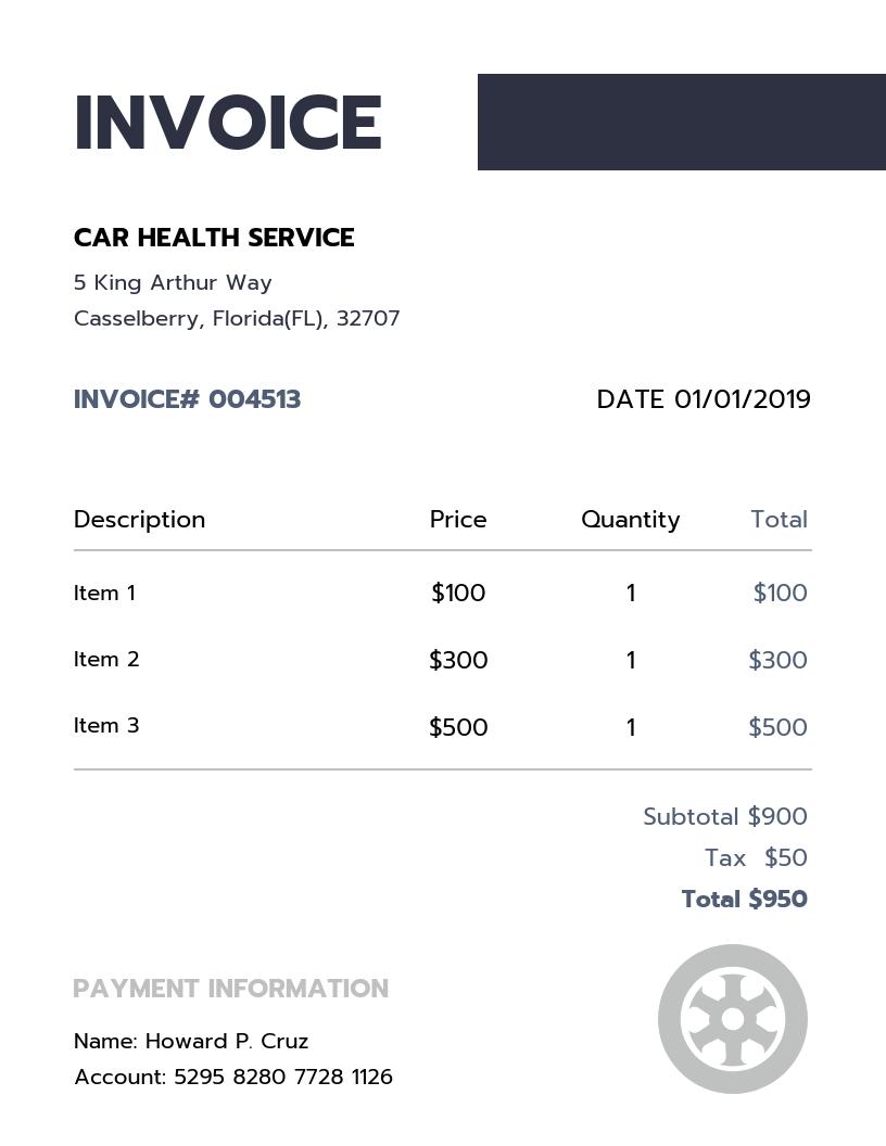 Simple Car Service Invoice Template