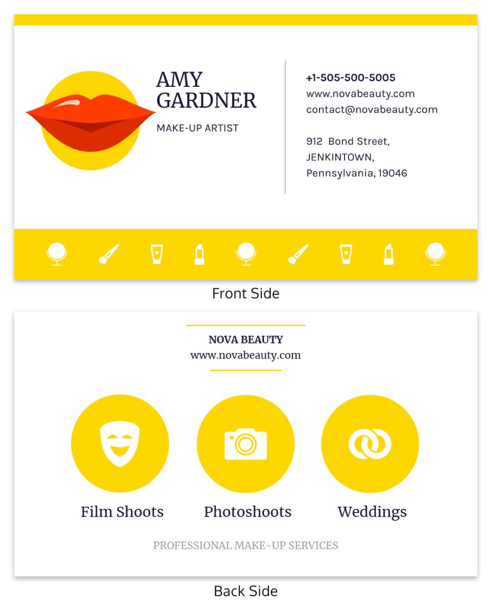 Yellow Makeup Artist Business Card Template