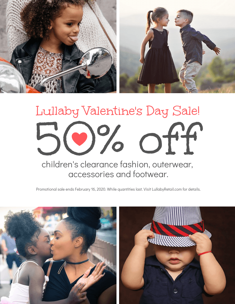Retail Valentine's Day Promotion Sale Flyer Template