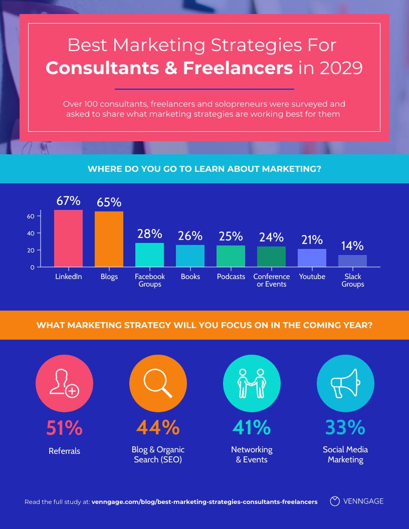 Modern Freelancer Marketing Strategy Statistics Infographic Template