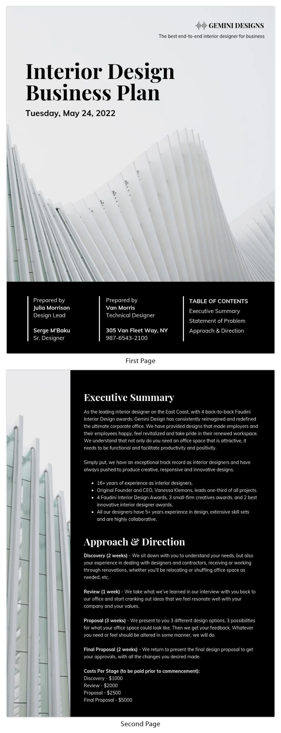 Dark Interior Design Business Plan Template