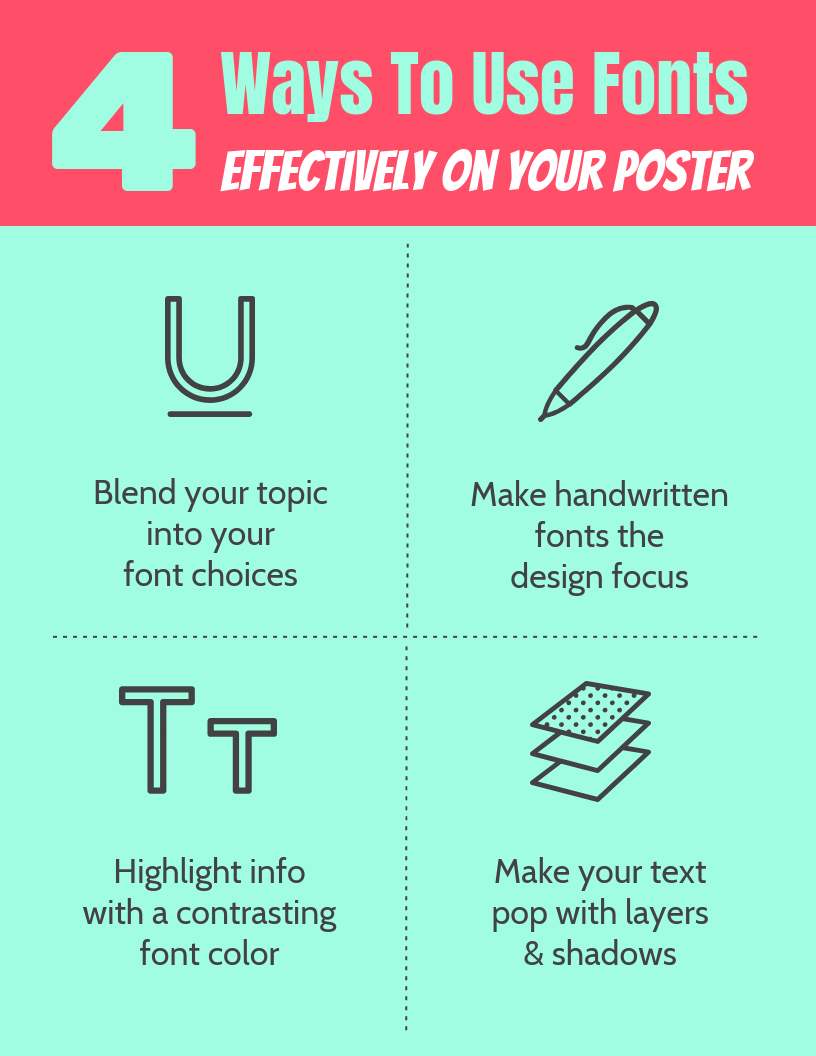 Blue Ways To Use Fonts Infographic Template