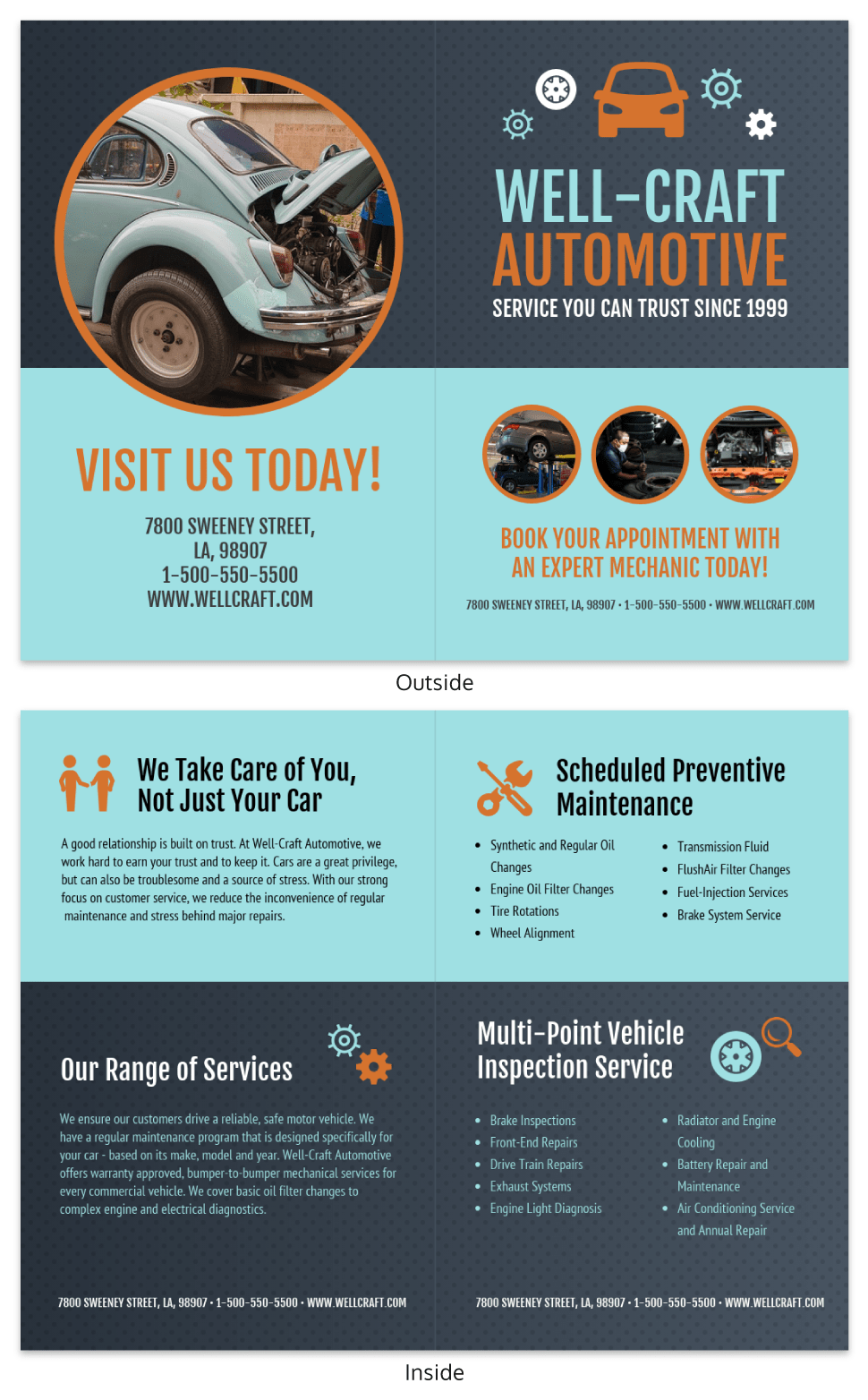 Retro Automotive Local Business Bi Fold Brochure Template