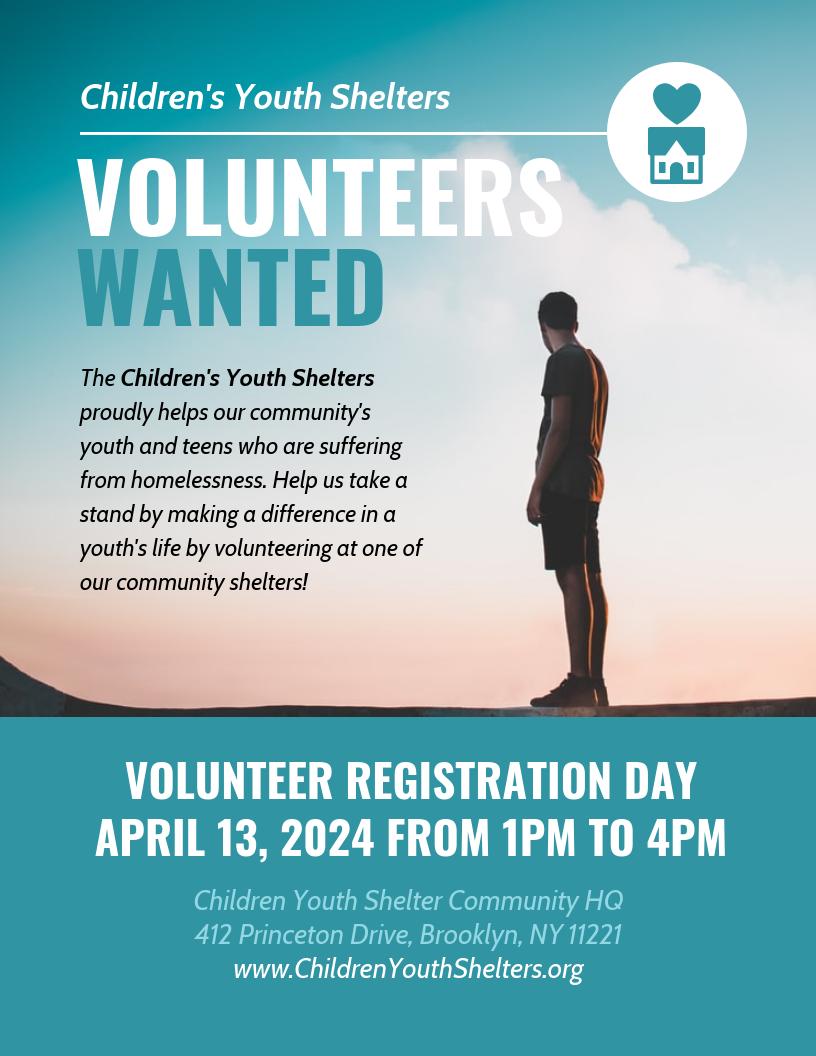 Nonprofit Volunteer Registration Event Flyer Template