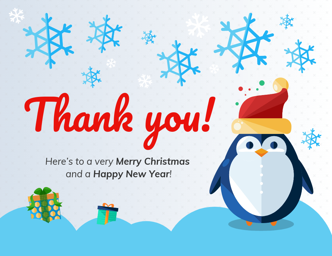 thank you christmas card template