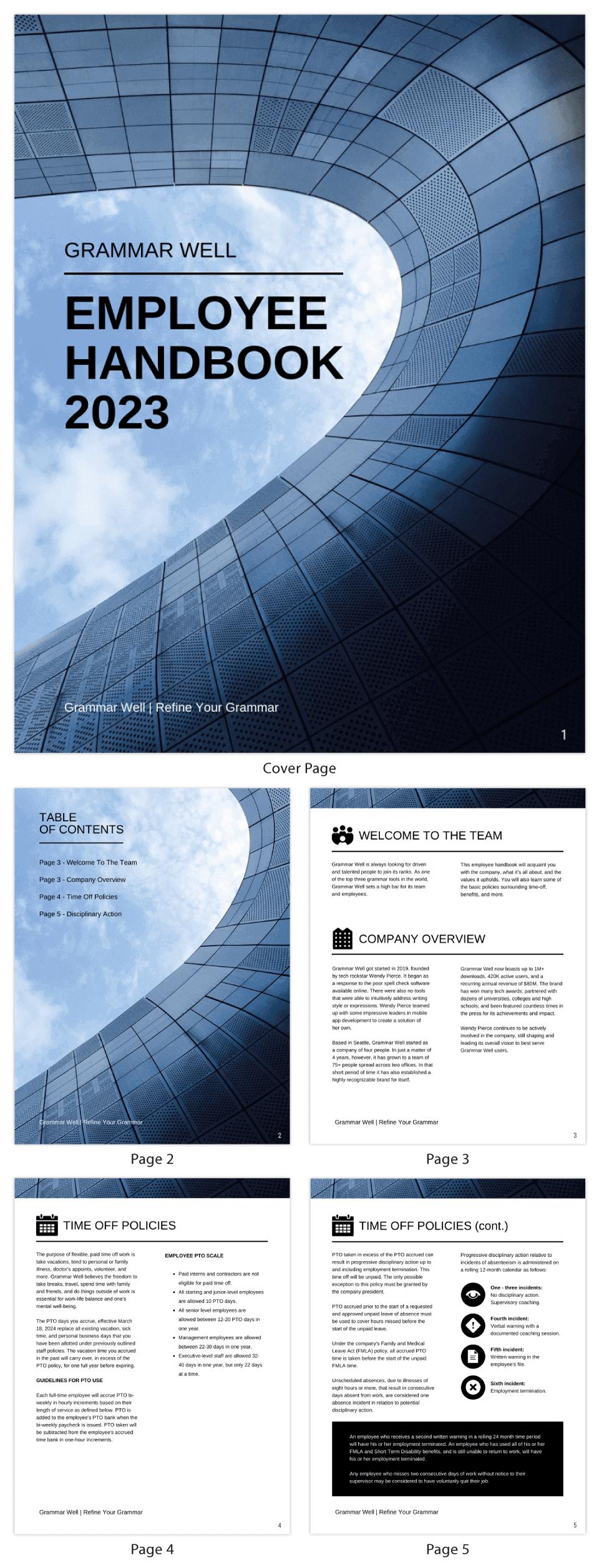 Simple Corporate Employee Handbook Template
