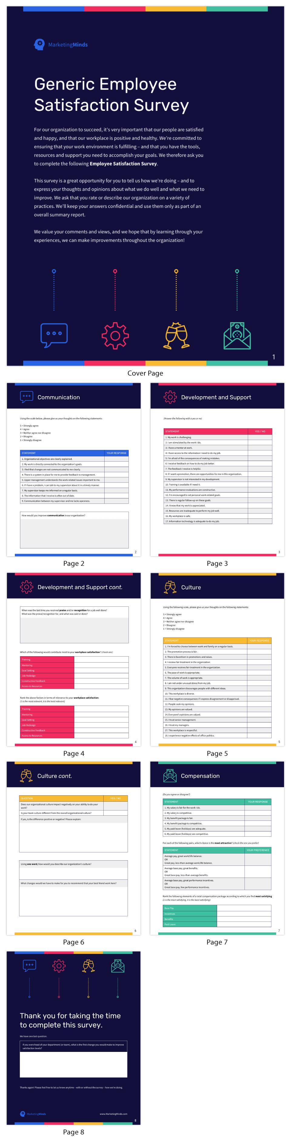 Generic Employee Satisfaction Survey Checklist Template