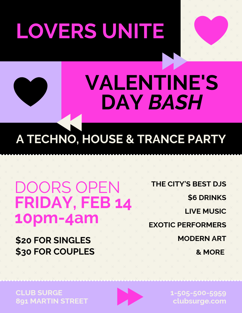 Valentine's Day Trance Party Flyer Template