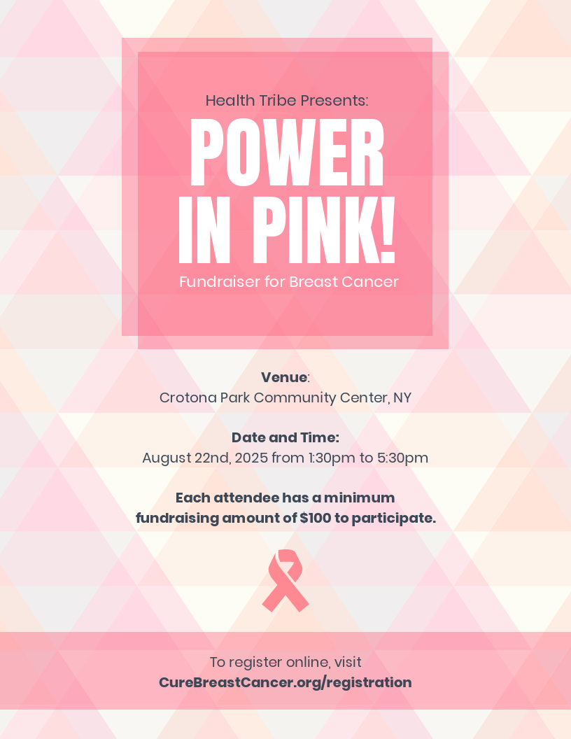 Fundraiser Breast Cancer Event Poster Template
