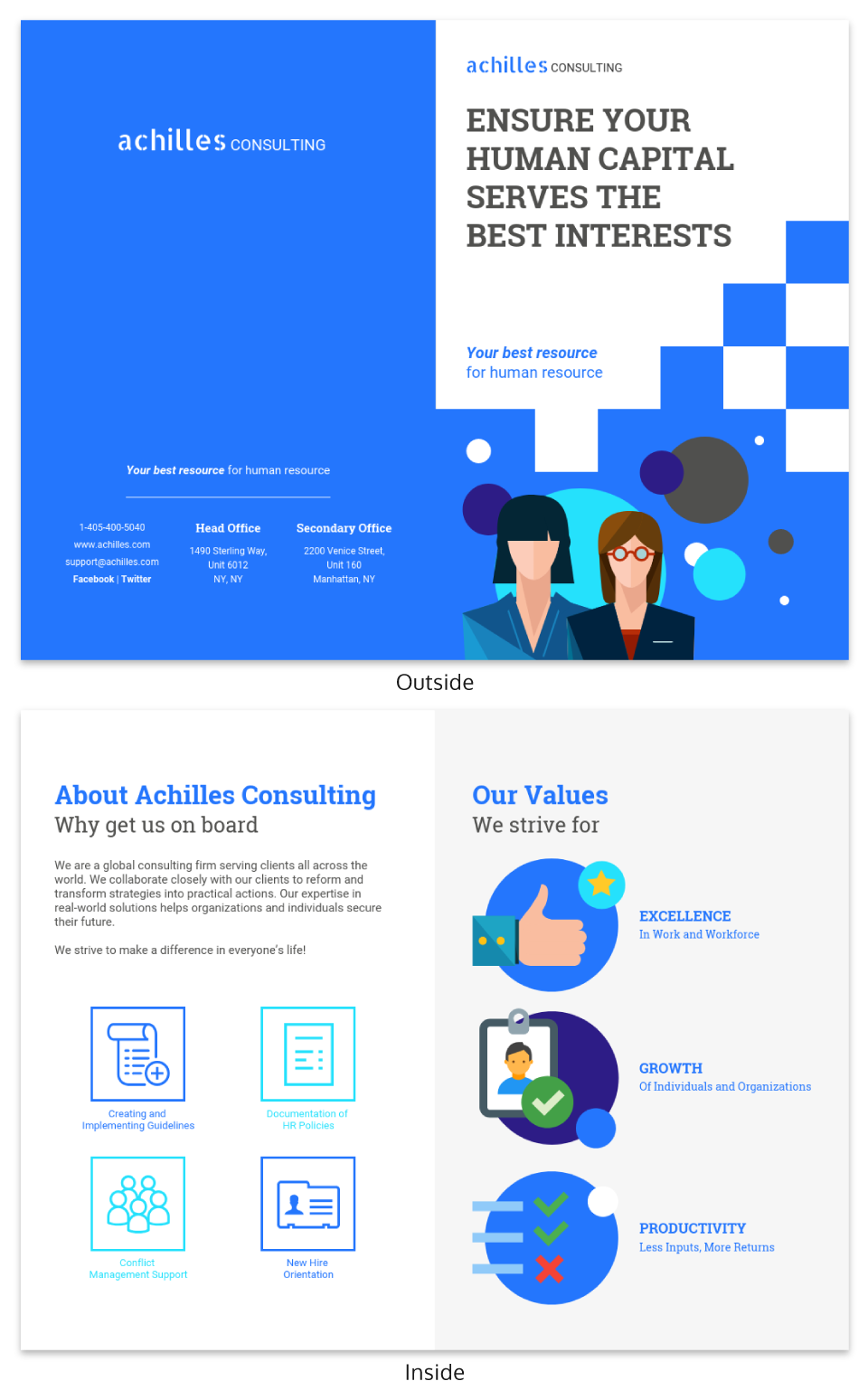 Blue Consultant Bi Fold Brochure Template