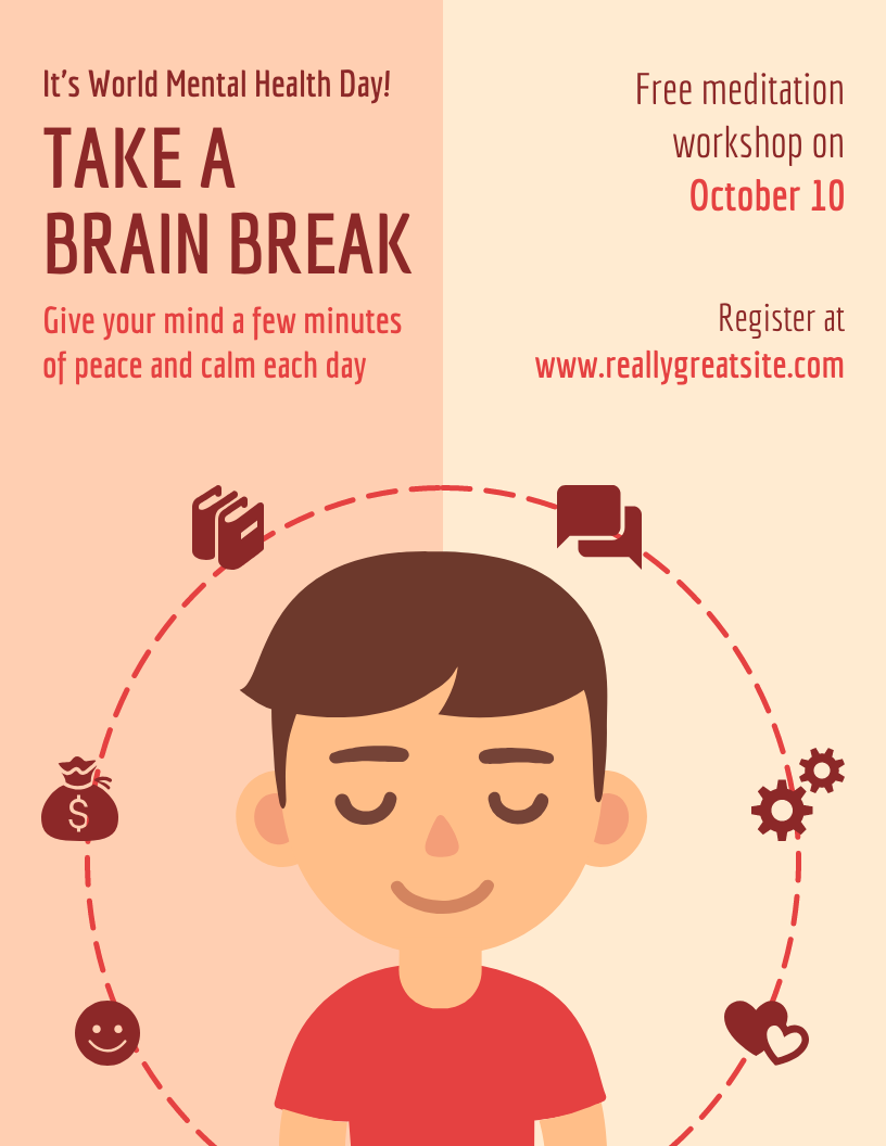 Meditation Mental Health Poster Template