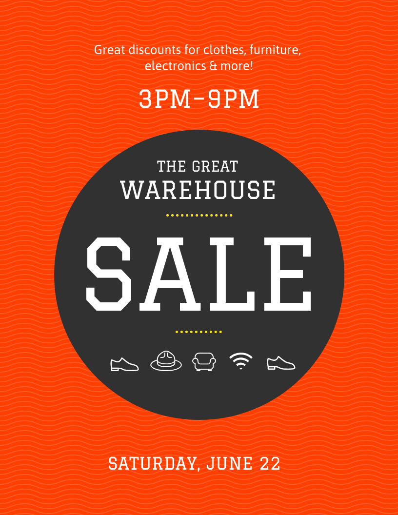 Red Bold Warehouse Sale Poster Template