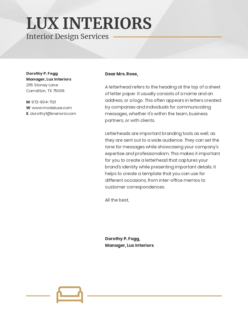 Interior Design Business Letterhead Template