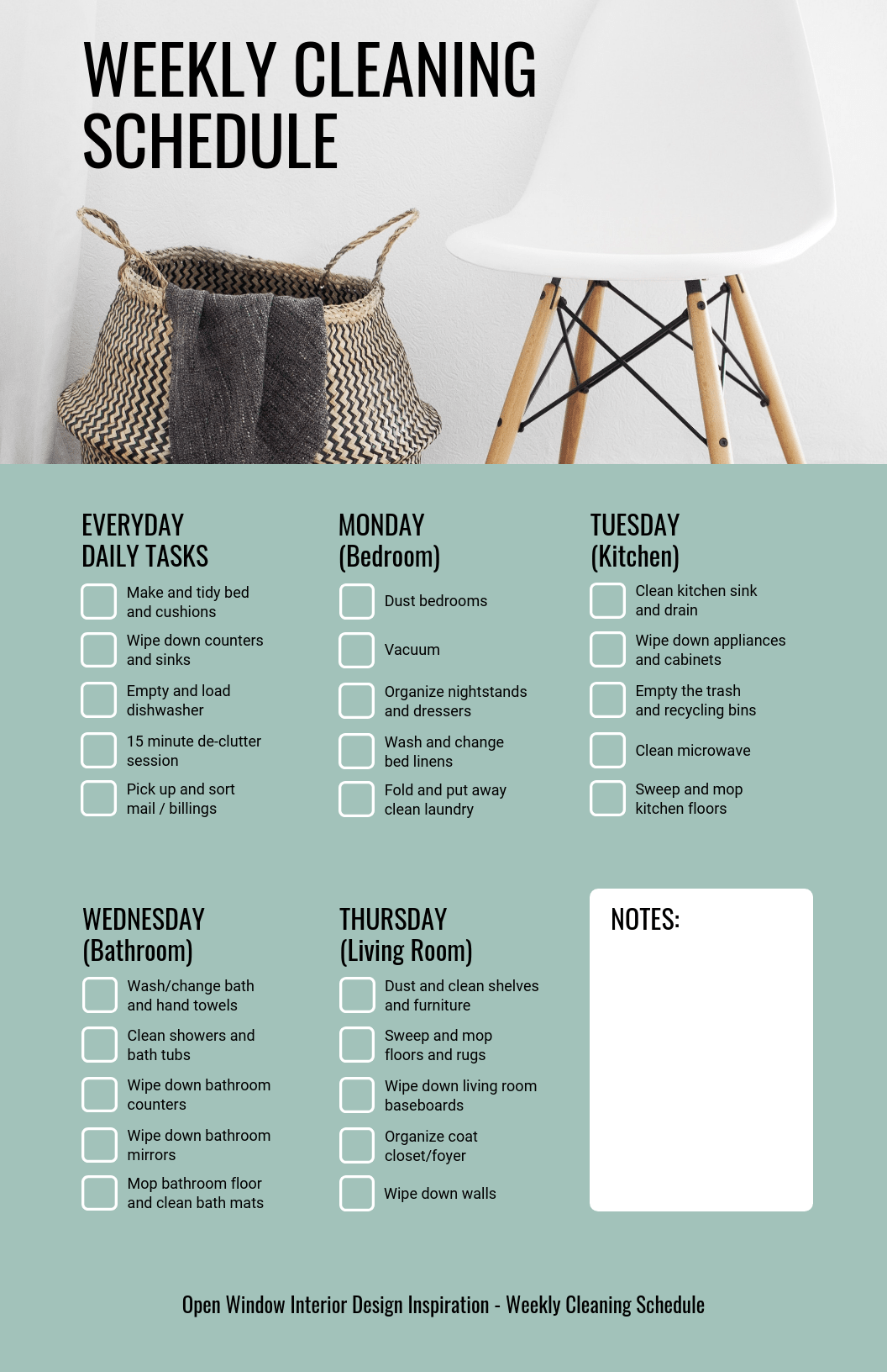 Photo Weekly Cleaning Schedule Checklist Template