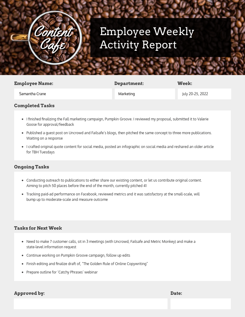 Employee Weekly Status Report Template Venngage