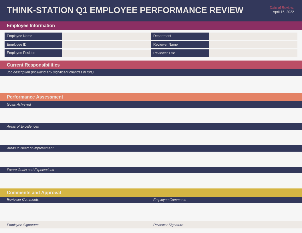 Q1 Employee Performance Review Template