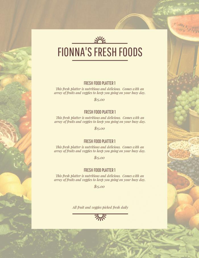 Fresh Food Menu Template