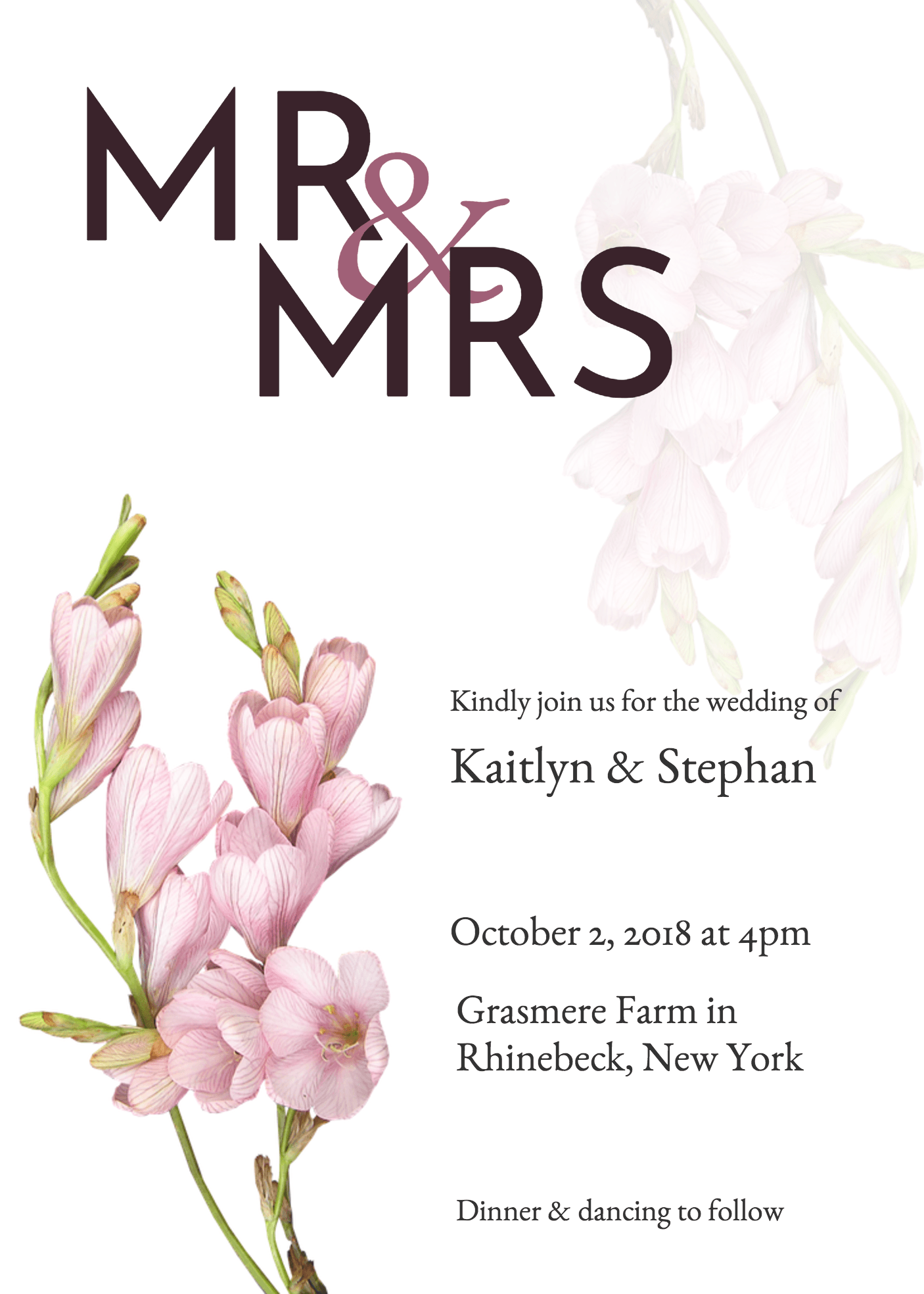Mr and mrs wedding invitation template venngage mr and mrs wedding invitation stopboris Choice Image