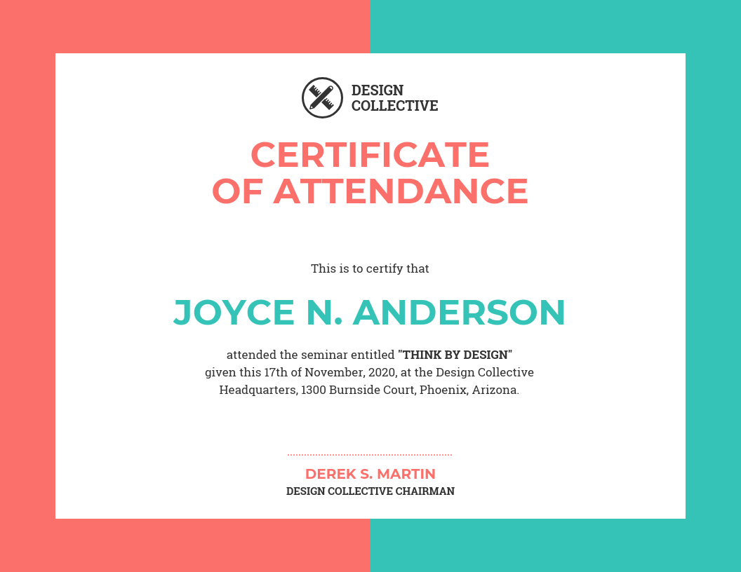 Vibrant Certificate Of Attendance Template Template Venngage
