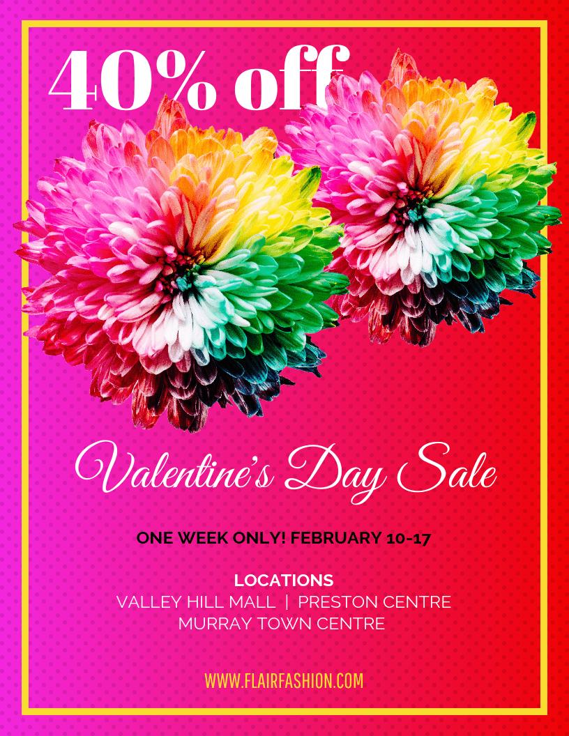 Vibrant Valentine's Day Promotion Sale Flyer Template