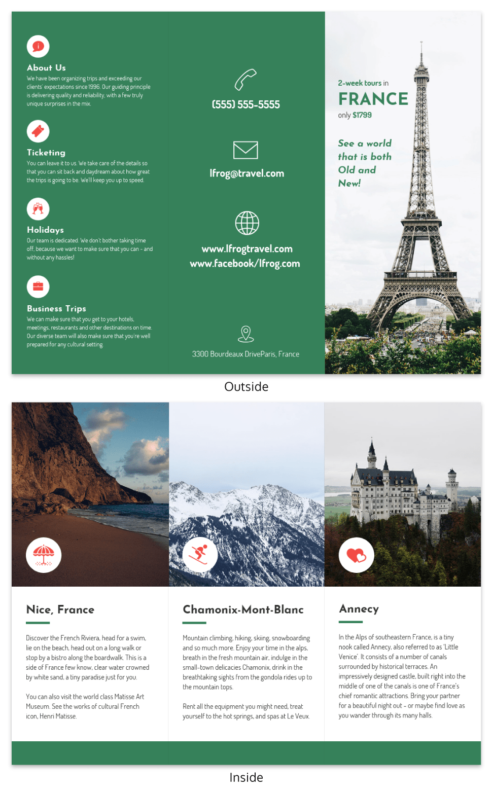 france tri fold travel brochure template venngage
