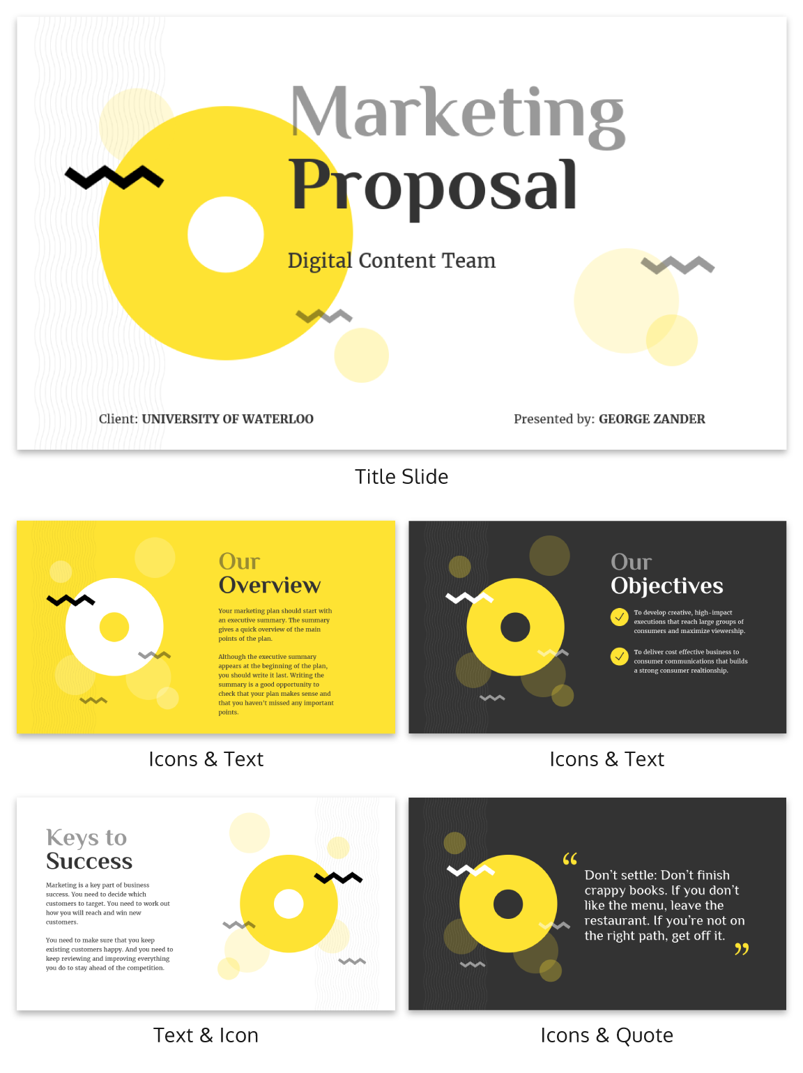 Zig Zag Marketing Proposal Business Presentation Template