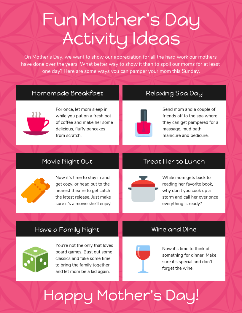 Fun Mother's Day Activity Ideas Template