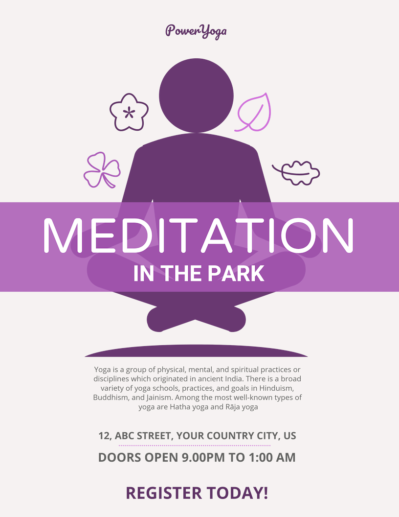 Purple Meditation Event Poster Template