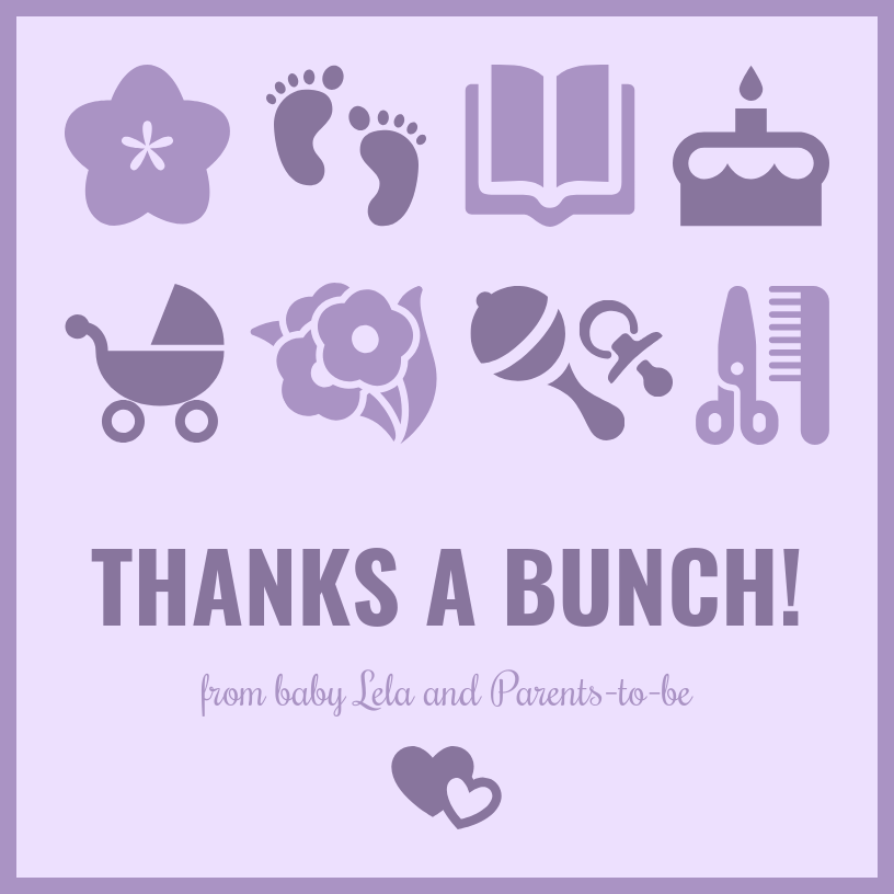 Purple Baby Shower Thank You Card Template